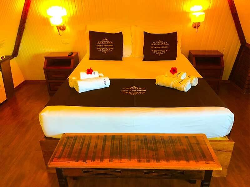 Cama do Chalé Oxford no Hotel de Campos do Jordão